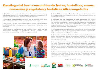 ASEVEC se suma al decálogo del buen consumidor español de frutas y verduras
