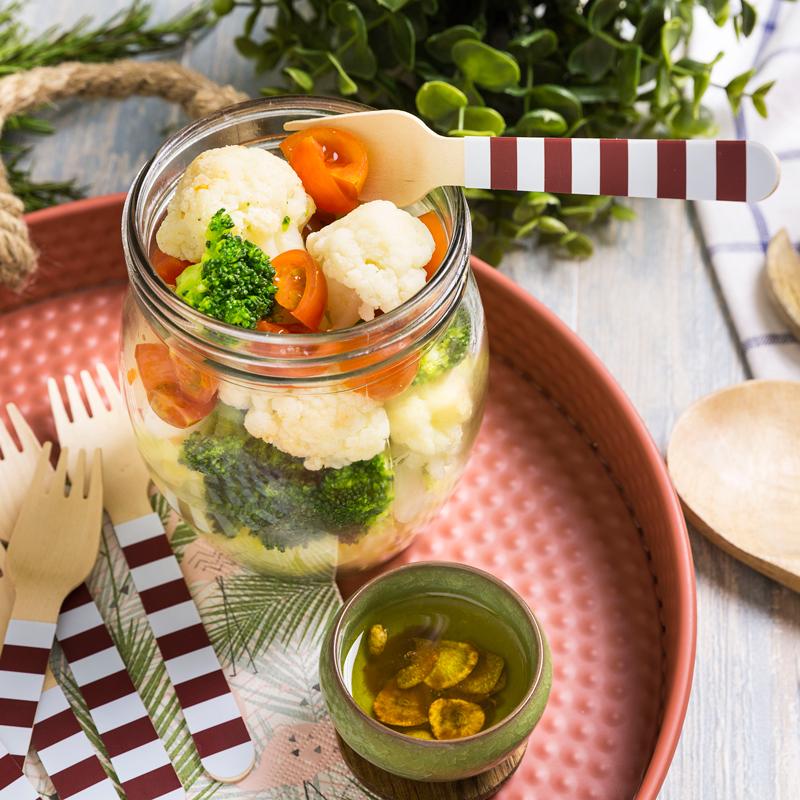 Ensalada bicolor de brócoli y coliflor