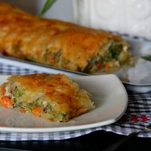 Strudel de verduras con queso de cabra