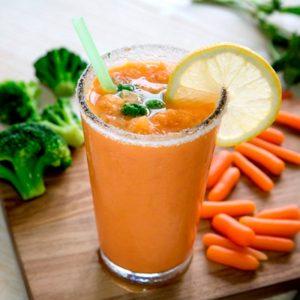 Granizado de zanahoria, brócoli y coco