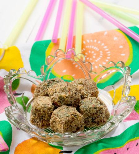 Bombones de verduras helados con espinacas o acelgas
