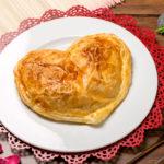 Corazón de hojaldre con judías, alcachofas y zanahoria
